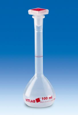 Vitlab 67304 Volumetric flasks, PMP, Class A with NS stoppers, PP Vol 100 ml