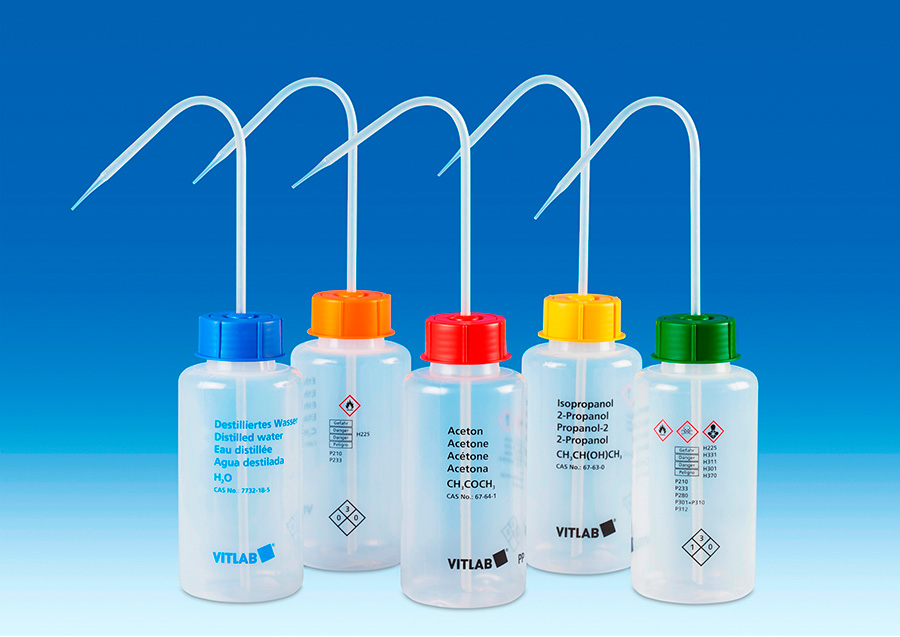 "Vitlab 1352969 VITsafeâ""¢ safety wash bottles Vol 500 ml for Acetonitrile"