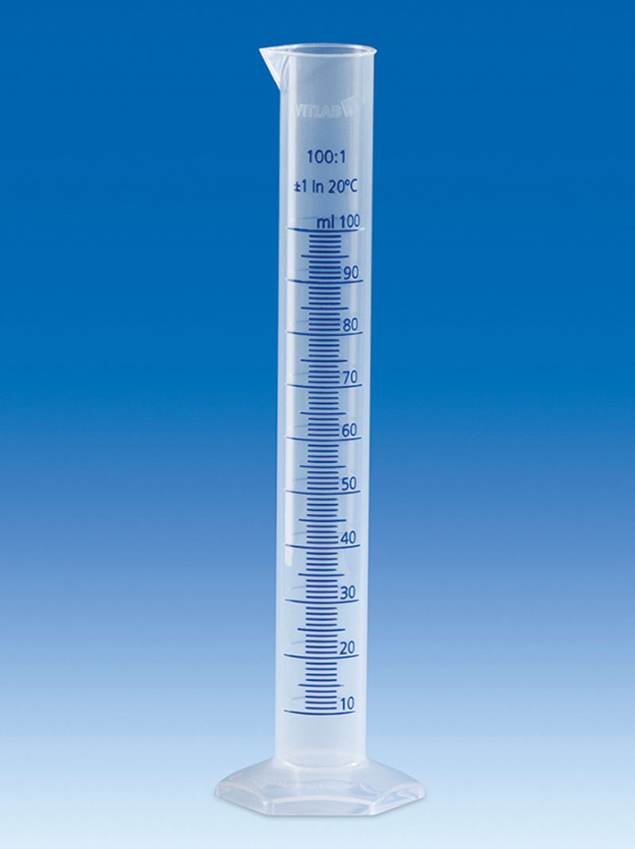 Vitlab 650081 Measuring Cylinder PP Class B Vol 250 ml with Blue Scale