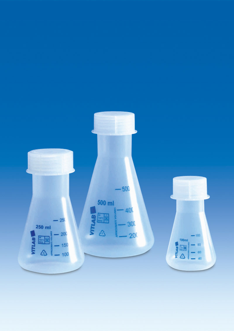 Vitlab 668941 Erlenmeyer flasks, PP Vol 250 ml with PP screw cap