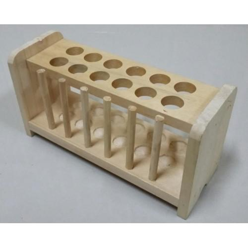 WHI-10015 Rack Test Tube-Kayu 12 hole